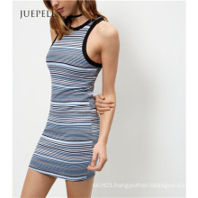 Guangzhou OEM Blue Stripe Bodycon Mini Dress
