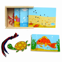 Wooden Lacing Toy with Sea Animals