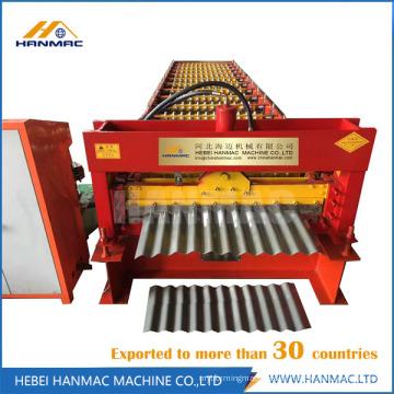 Rolo de telhado ondulado dá forma à máquina