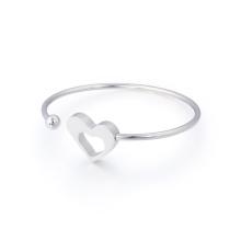 Amor coração oco pulseira pulseira aberta ajustável para as mulheres