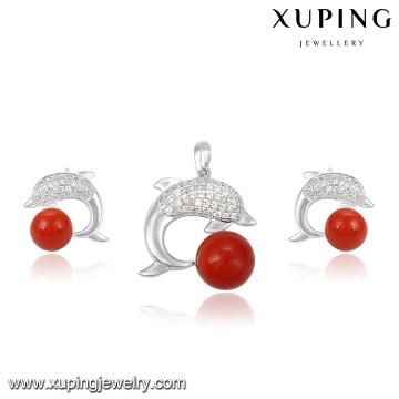 63973 Fashion Charm CZ perle poisson Design rhodié ensemble de bijoux