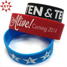 Schwarze, blaue und rote Silikon-Armband-Größe für Erwachsene
