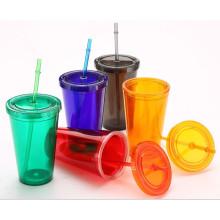 450ml Plastikbecher mit Stroh, Plastik Trinkbecher, Plastik Reisebecher
