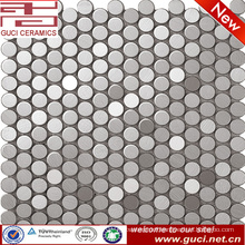 Circular stainless steel mosaic tile for kitchen wall design
