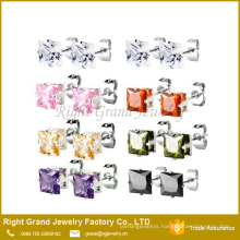 5mm 6mm 316L Stainless Steel Prong Set Square shaped prong setting cubic zirconia ear studs