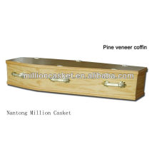 pine veneer wooden coffin with handle