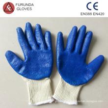 Gants de coton bon marché à la fine pointe de la marque, revêtus de latex palm 40g par paire