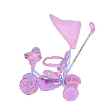 Plastic Children Tricycle with Push Rod and Sunshade