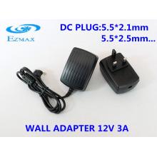 Adaptador de parede 12V 3A para adaptador de alimentação da fonte de alimentação CCTV