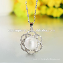 Flower Statement Pearl 925 Silver Necklace Made In China Designs for Western Girls SCR018