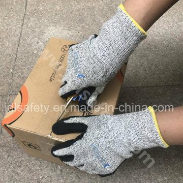 ANSI corte A4 nivel trabajo guante recubierto de nitrilo