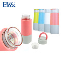 300ml glass leak proof water bottle with silicone
