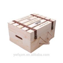 Boîte d'emballage en verre de vin unique en bois fait main