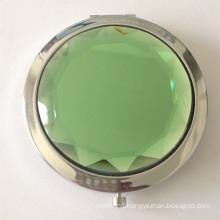 Light Green Crystal Metal Pocket Mirror (BOX-18)