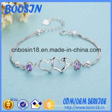 Pulsera de cadena de corazón de plata de ley 925 personalizada