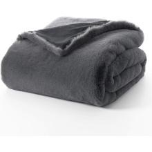 Cobertor de peles artificiais de coelho super macio reversível
