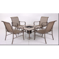 Outdoor sling furniture 5pc dining set with firebox