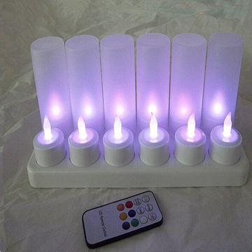 Color changing rechargeable tealight candle