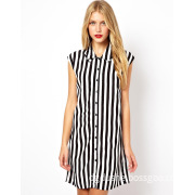 Women Casual Stripe Fold Collar Shirt Dress (JK11009)