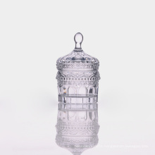 Lidde Clear Sweet Jar with Embossing Pattern