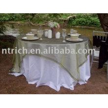 Toalha de mesa e sobreposição, toalha de mesa de banquete do poliéster, sobreposição de organza