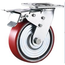 Heavy Duty Galvanized PU Cast Iron Spherical Wheel Caster