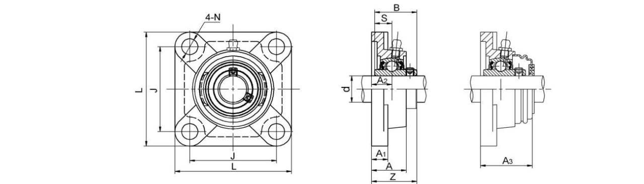 4 Bolt Flange Bearing Units UCF200 series have bearings that can be moved and aligned to better accomodate long shafts.