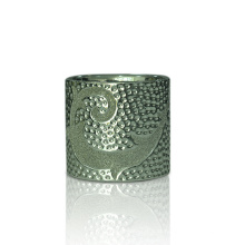 Castiçais cerâmicos murados retos do chapeamento de prata de Embssoment do cilindro