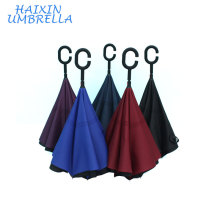 "Multi Colors Optional 23"" Pongee Customize Logo Double Layer C Handle Windproof Outdoor Inverted Reverse Upside Down Umbrella"