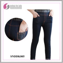 2015 senhoras confortáveis de alta cintura leggings falsificados jeans (snddk005)