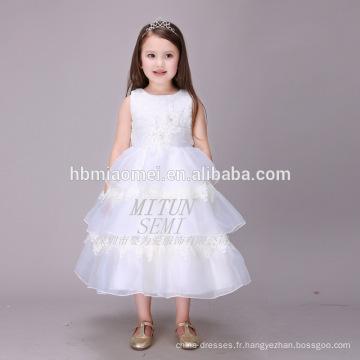 La principale attraction blanche Tulle Puffy Layers Boutique vêtements robe d'anniversaire pour bébé fille