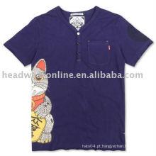 Algodão / poliéster v pescoço t shirts com serigrafia