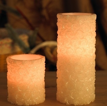 Flickering real wax LED candles
