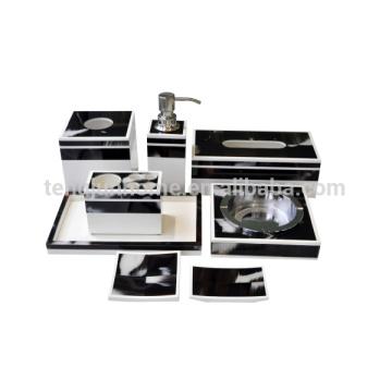 8 pcs dispensador de sabão preto saboneteira prato de cinzeiro tecido caixa de chifre hotel banheiro conjunto