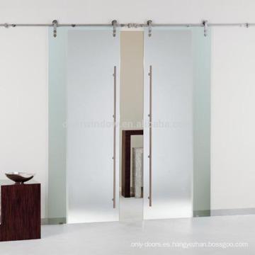 Puertas de granero deslizantes interiores de vidrio triple con hardware