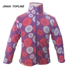 Girls Printed Fleece Jacket With Pocket
