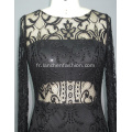 Robe de bal sexy col rond manches longues