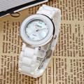 Женщины Оболочки Перл Циферблат Белые Керамические Ремешок Платье Наручные Часы