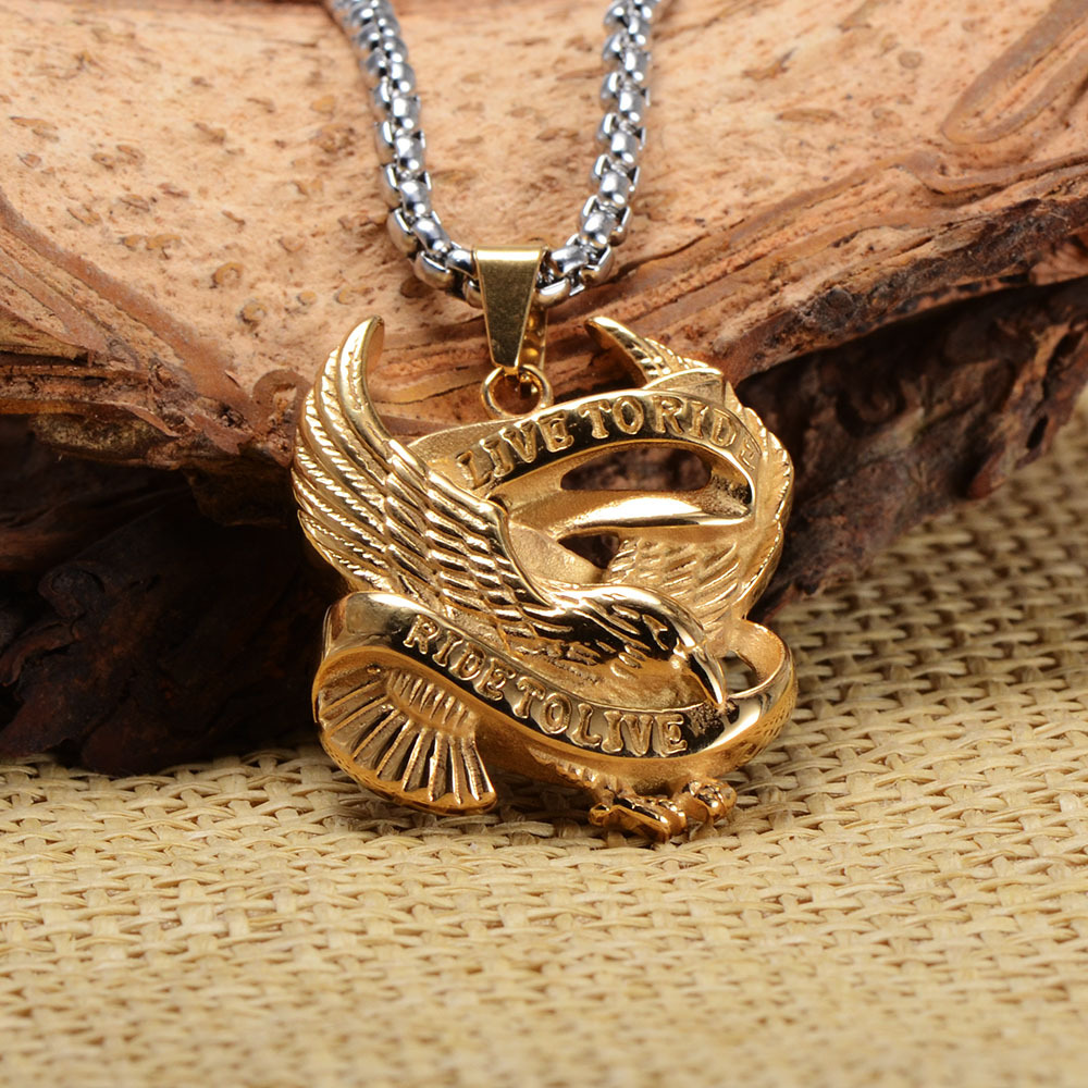 Personality Punk Style Men's Stainless Steel Eagle Pendant