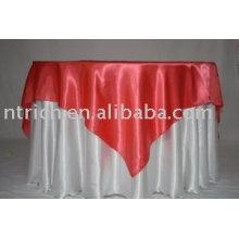 toalhas de mesa tecido de cetim branco, toalha de mesa do hotel, sobreposição de cetim vermelha