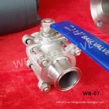 Válvula de bola de conexión rápida CF8m de acero inoxidable Dn40