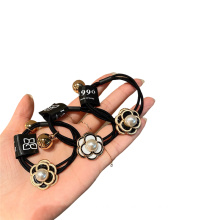 Camellia Hair Tie Elastic Band Ring Cute Girl Ponytail Head Rope Rubber Female Fashion Accessories Pearl Alloy Korean CN;ZHE