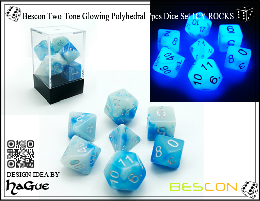 Bescon Gemini Glowing Polyhedral 7pcs Dice Set ICY ROCKS-1