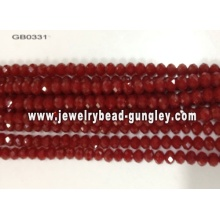 opaque roundel glass bead-dark red