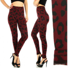 Leopard Seamless Fleece Lining Leggins Burgund