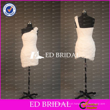 ED Bridal Flower One Shoulder Bainha Short Ruched Chiffon White Cocktail Dress With Plum 2017