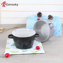 Personalisierte Normallack-Mikrowelle und spülmaschinenfeste Steingut-glasierte Keramik-Suppenschüssel mit Griffen