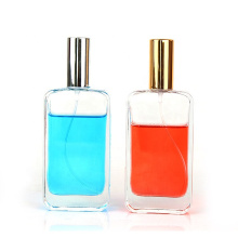 High quality empty clear 100ml square refillable perfume glass spray bottle with mist fine sprayer