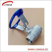 Válvula de bola roscada de dos piezas de acero inoxidable sanitaria con mango oval