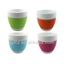 100cc belly shape mug with silicone band, small size, set of 4 in PVC